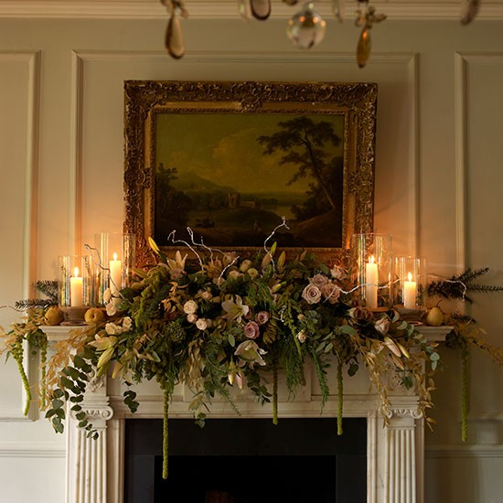 Traditional Flowers And Fruit Mantel Swag