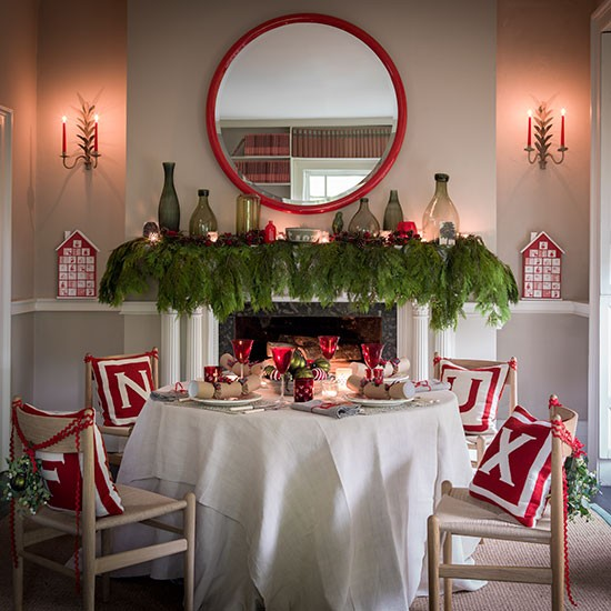 Dining Room Christmas Decorations: Red And White Fireside Decorations