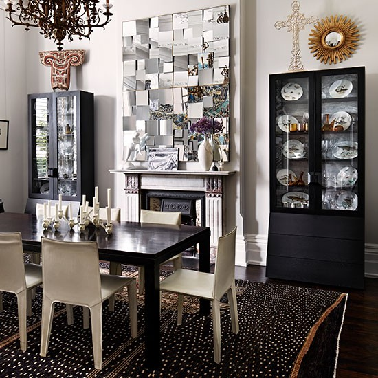 Dining Room Cabinets Ideas: Monochrome Dining Room With Cabinets