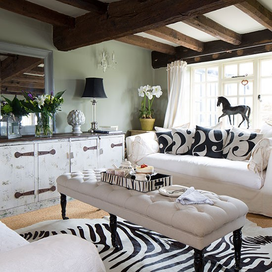 Leopard Print Rug In Dining Room: Traditional Living Room With Animal Print Rug