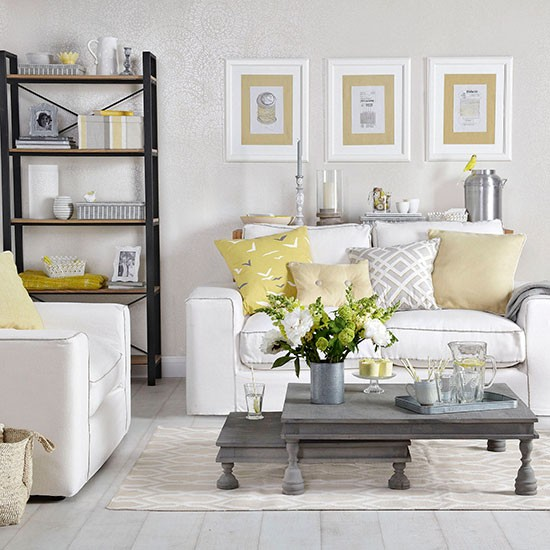 Dove grey living room with yellow cushions | Living room ...