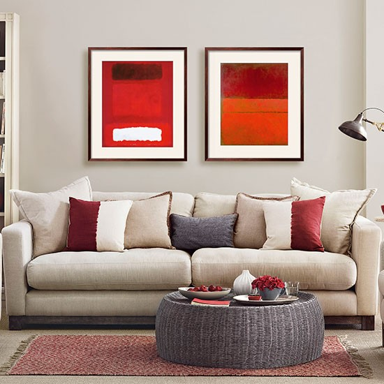 Red Room Ideas: Mushroom Grey And Red Living Room
