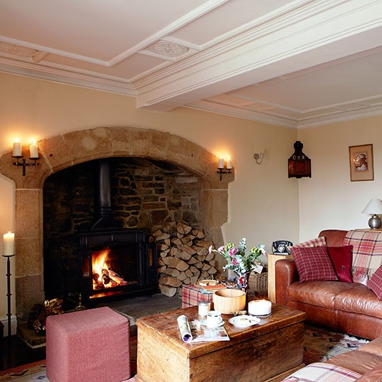 Country Living Room With Inglenook Fireplace