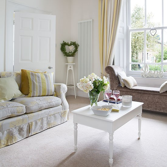 Gorgeous Living Rooms: White And Pale Yellow Living Room