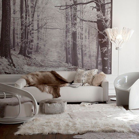 Winter Living Room Decorating: White Winter Living Room With Woodland Artwork