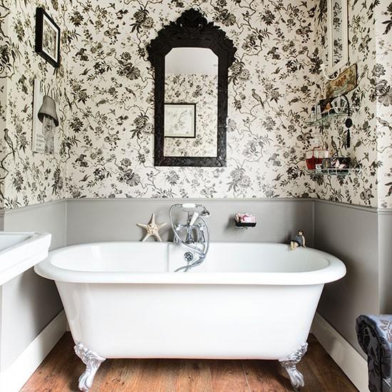 Grey Country Bathroom With Rolltop Bath: Black And White Bathroom With Roll-top Bath
