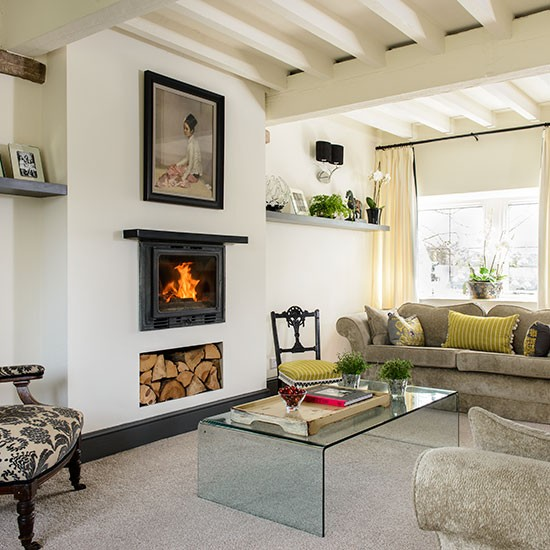 Cream Living Room: Traditional Cream Living Room With Beams