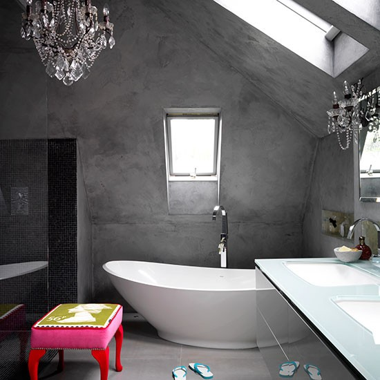 Modern Bathroom With Concrete Finish Walls Decorating