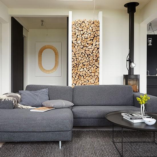 modern living room with grey sofas decorating. Black Bedroom Furniture Sets. Home Design Ideas
