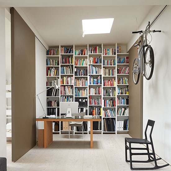 Small Home Office Ideas For Men And Women: Home Office With Floor To Ceiling Shelves