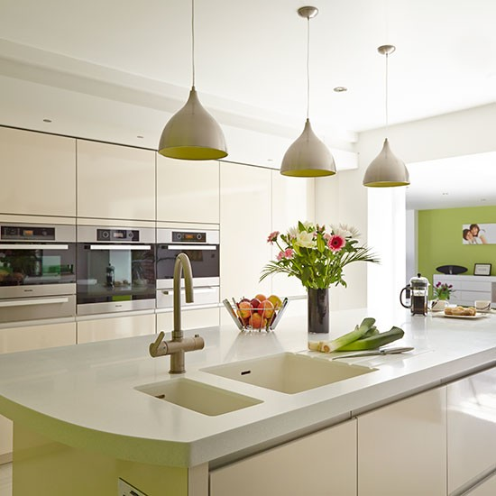 Contemporary Kitchen Lighting: Modern White Kitchen With Island And Pendant Lights