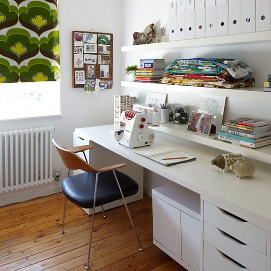 Home Office Craft Room Ideas: Craft Room With Open Shelves And Storage Desk