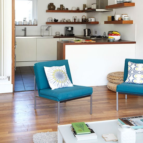 White Kitchen Chairs: Modern White Kitchen With Teal Chairs
