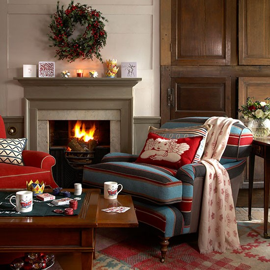 Country Club Living Room Decorated For Christmas