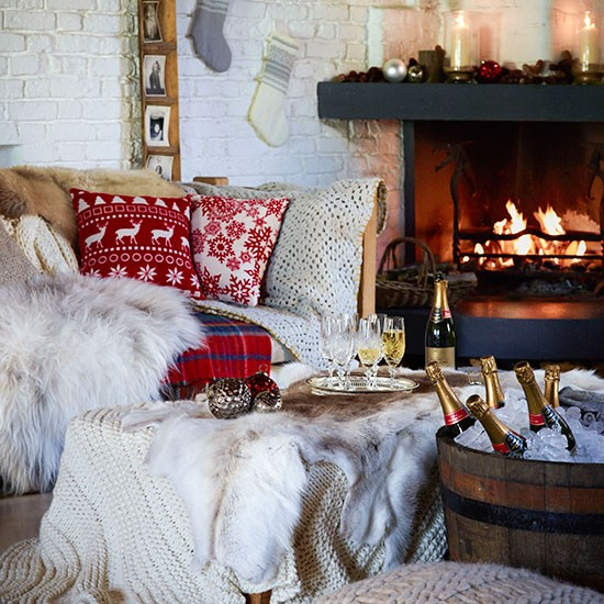 cosy christmas cottages country christmas living room with