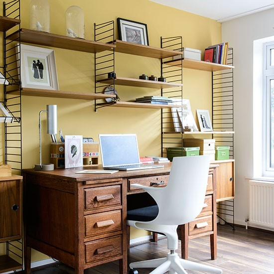 Small Home Office Ideas For Men And Women: Yellow Home Office With Wood Furniture