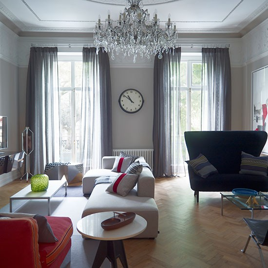 20 Grey Living Room Ideas For Gorgeous And Elegant Spaces: Elegant Grey Living Room With Parquet Floor