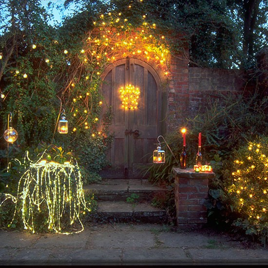 Landscape Lighting Ideas: Garden Bushes Decorated With Fairy Lights