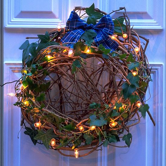 Front Door Wreath With Lights Outdoor Christmas Lighting