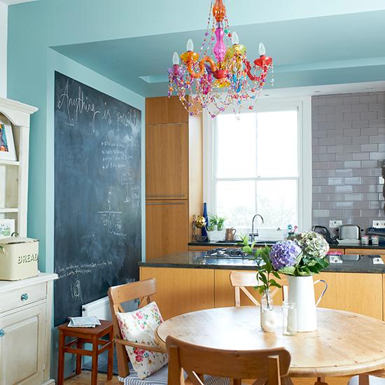 Blue Kitchen Walls: Pale Blue Kitchen With Chalkboard Wall