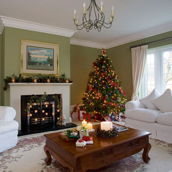 Traditional Green Living Room With Christmas Tree