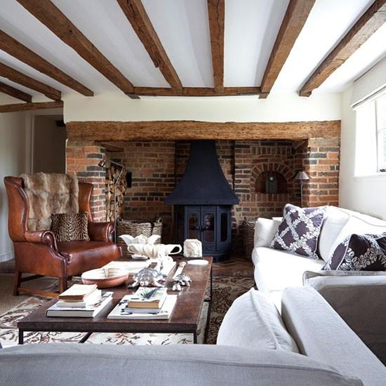 Winter Living Room Decorating: Mixed Materials Living Room