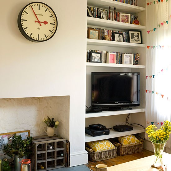 Cream living room with alcove shelves living room - Living room shelf ideas ...