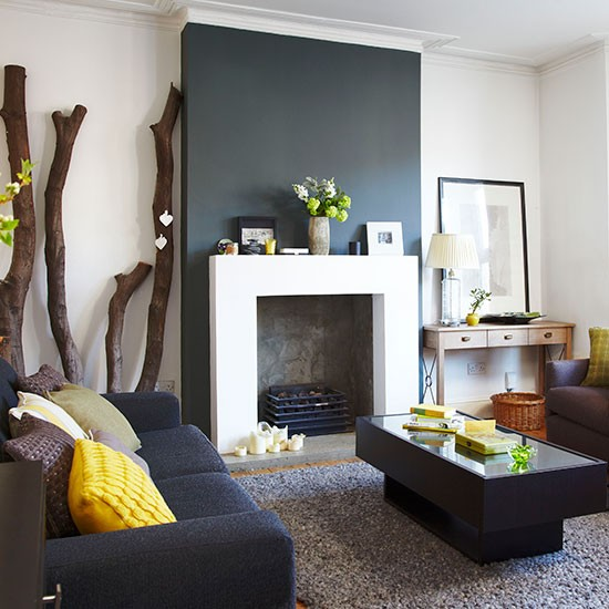Charcoal Grey And White Living Room Living Room