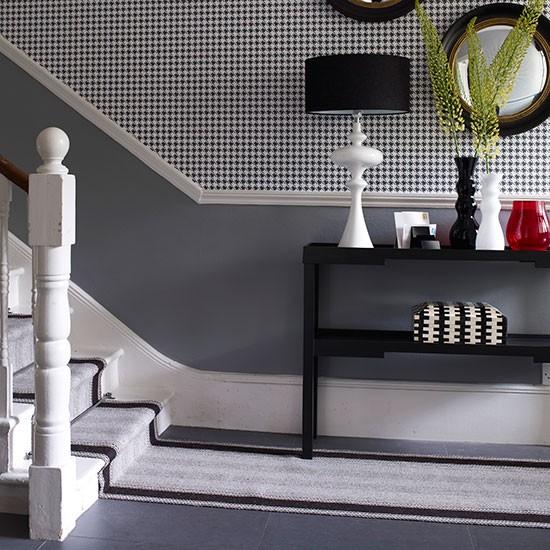 Grey Hallway Wtih Extended Runner Hallway Flooring Ideas