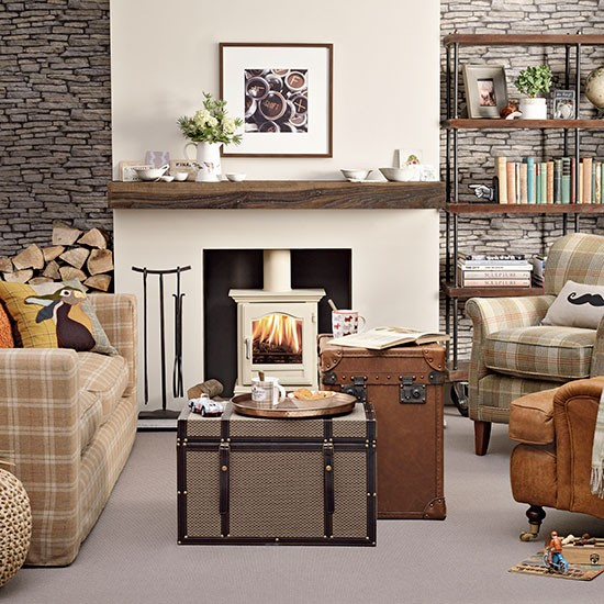 Casual Living Room Decorating Ideas: Plaid And Leather Living Room
