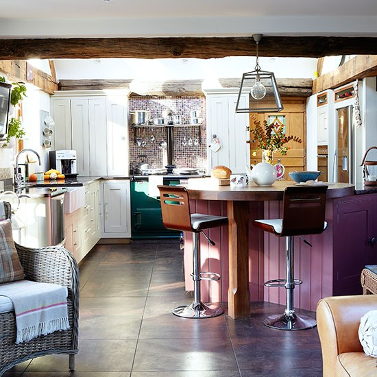 Country Home Interiors: White Country Kitchen With Hits Of Purple And Green