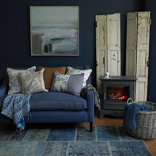 Country Home Interiors: Deep Indigo Blue Living Room