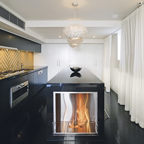 Contemporary Kitchen Island: Modern Kitchen Island With Built-in Fire