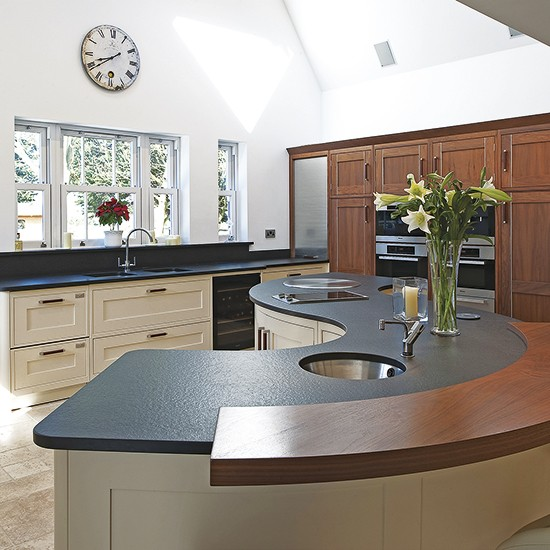 Curved Granite And Walnut Island