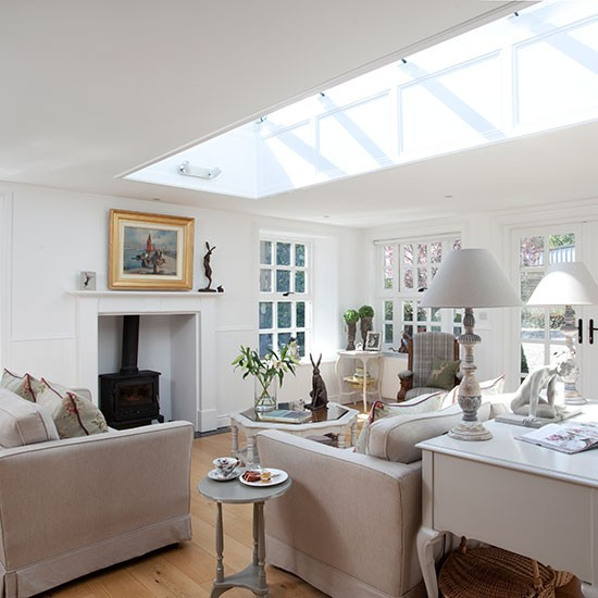 Open Plan Living Design Tips And Ideas: White Living Room With Skylight