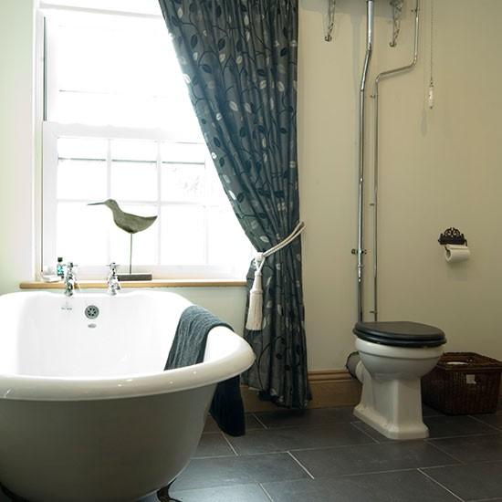 Grey Country Bathroom With Rolltop Bath: Traditional Bathroom With Roll-top Bath