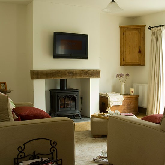 Living room with woodburning stove living room - Living room with wood burning stove ...