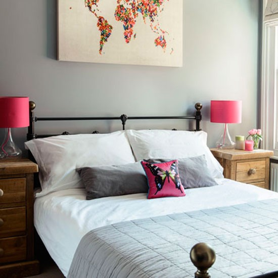 Bright colour pops in a contemporary bedroom | Modern ...