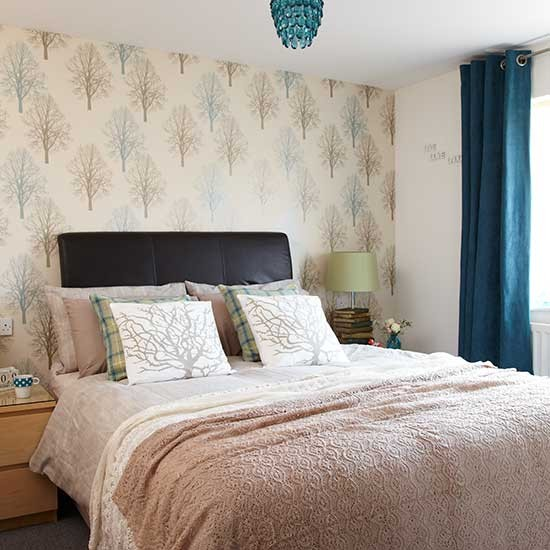 Modern Bedroom: Neutral Modern Bedroom With Teal And Textures