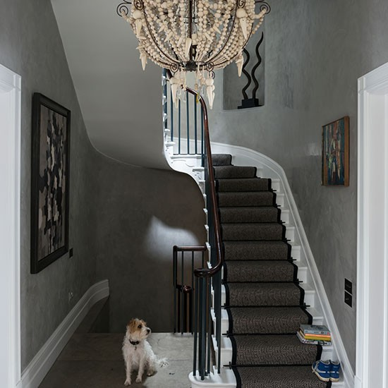Grey Eclectic Hallway With Chandelier