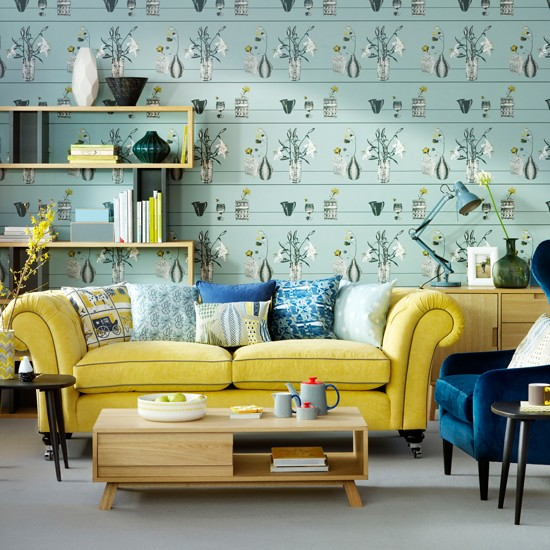teal living room with yellow sofa how to decorate with yellow. Black Bedroom Furniture Sets. Home Design Ideas