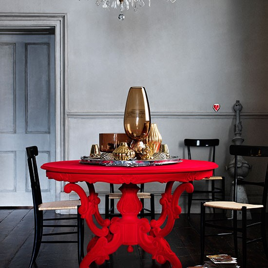 Red Dining Room Table: Grey Dining Room With Bold Red Table