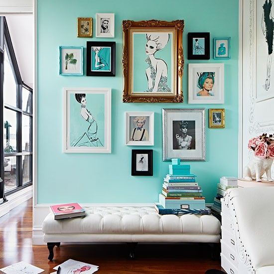 Home Office Designs Living Room Decorating Ideas: Turquoise Home Office With Leather Ottoman