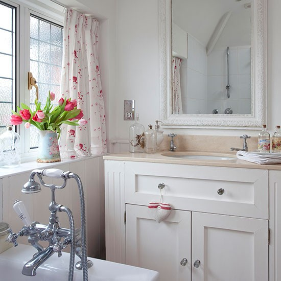 Country Bathroom With Painted Vanity Unit