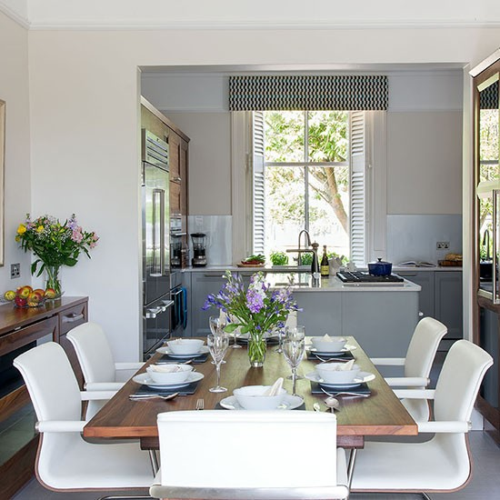 Dining Area In Kitchen: Stylish Pale Grey Kitchen-diner