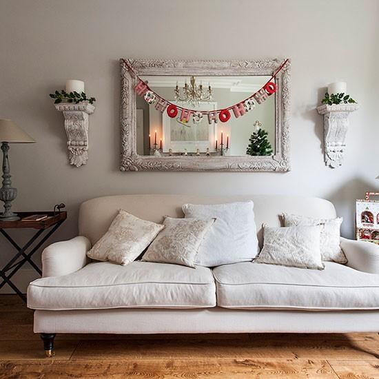 Open Plan Living Room Decor: Neutral Open-plan Christmas Living Room