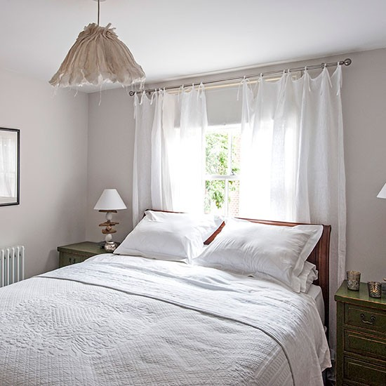 white bedroom with sheer curtains decorating. Black Bedroom Furniture Sets. Home Design Ideas
