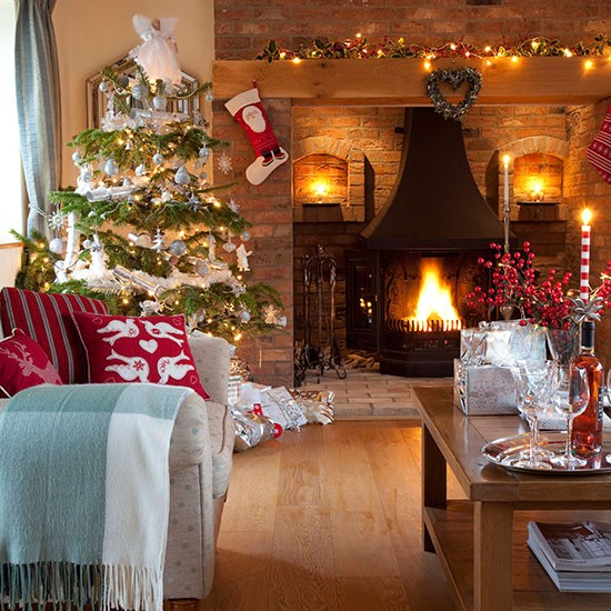 Christmas Living Room With Brick Fireplace