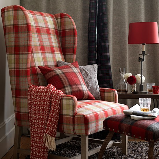 Plaid Furniture Country Living Room