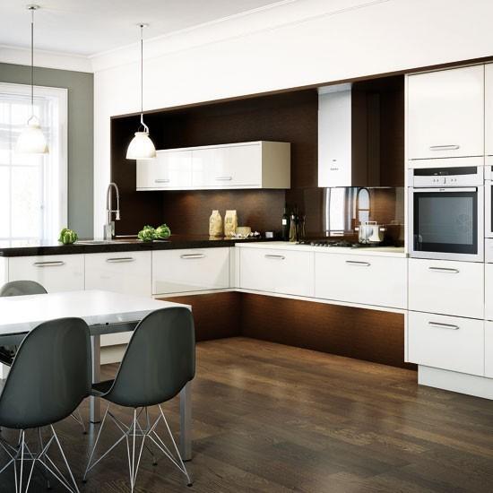 Dark Wood And White L-shaped Kitchen